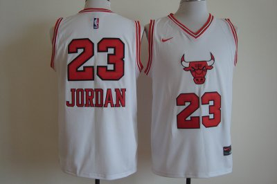 2018 Cheap Online Chicago Bulls #23 Michael Jordan White Basketball Bull Head Stitched Swingman LMK682