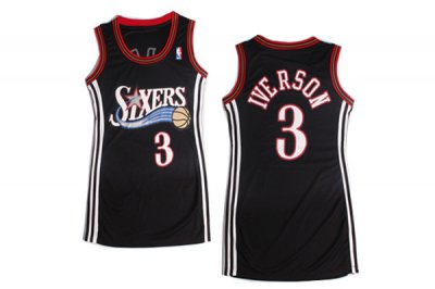2018 New Women NBA Philadelphia 76ers 3 Allen Iverson Black Dress GKS4420