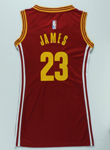 Best Women Cleveland Apparel Cavaliers 23 LeBron James red dress AJR4282