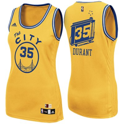 Cheap Women's 2017 Mother's Day Golden State Warriors #35 Gear Kevin Durant The City Gold Swingman YTT4229