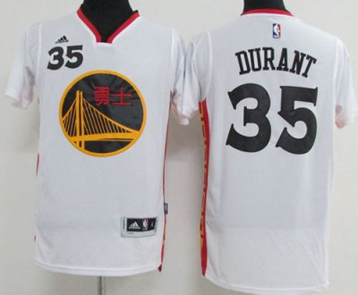 Guarantee Quality Warriors #35 Kevin Durant White 2017 Chinese Year Stitched Apparel BQM1605