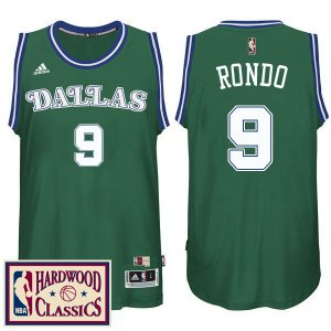 High Quality Dallas Mavericks #9 Rajon Rondo 2016 Jerseys 17 Season Green Hardwood Classics Throwback Swingman NAW1269