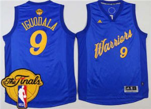 Latest Warriors #9 Andre Iguodala Blue 2016 2017 Christmas Day The Finals Patch Stitched Clothing FIH1879