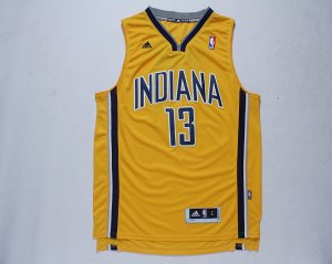 Latest style Indiana Pacers 13 Basketball Paul George Yellow LHY2010