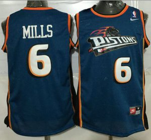 Official Quality Pistons #6 Terry Jersey Mills Blue Throwback Stitched GZY1417