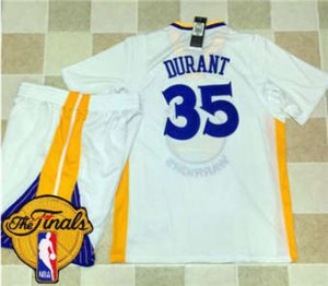 Order Warriors #35 Kevin Durant White Long Sleeve A Jersey Set The Finals Patch Stitched Suit GPS1875