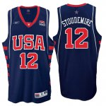 Quick-drying fabric Athens 2004 Olympics Gear USA Dream Team #12 Amar'e Stoudemire Navy Basketball IXA3971