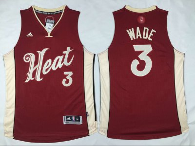 Silk fabric Miami Heat #3 Merchandise Dwyane Wade Revolution 30 Swingman 2015 Christmas Day Red EAK1008