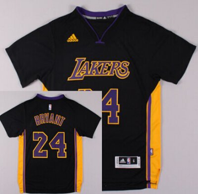 The Latest Los Angeles Lakers #24 Kobe Bryant Revolution 30 Swingman 2014 Black Jerseys With Purple ALY2421