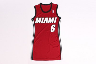 products Apparel Women Miami Heat 6 LeBron James Red Stitched Dress UMY4414