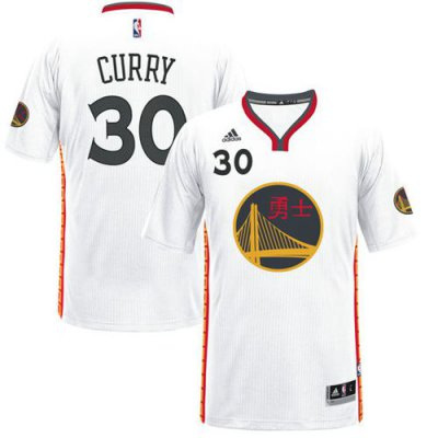 sport polyester fabric Warriors #30 Stephen Curry White 2017 Chinese Year Basketball Stitched LMZ1602