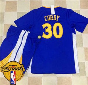 Comfortable and dry Apparel Warriors #30 Stephen Curry Blue Long Sleeve A Set The Finals Patch Stitched Suit SGL1847