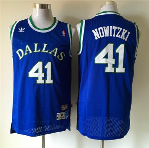 Fine fabric Dallas Mavericks #41 Dirk Nowitzki Throwback Swingman NBA Blue XMH1285