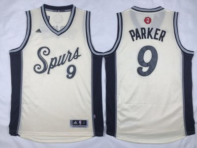 Hot Sale Cheap San Antonio Spurs #9 Tony Parker Revolution 30 Clothing Swingman 2015 Christmas Day Cream DFU1013