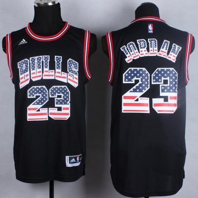 Lowest Price USA Flag Chicago Bulls #23 Jordan black Basketball CSB777
