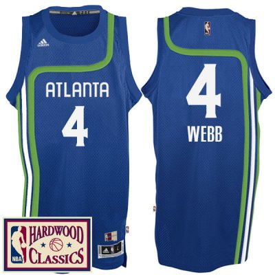 New Cheap Atlanta Hawks #4 Spud Webb 2016 Apparel 17 Season Royal Hardwood Classics Throwback Swingman AOR359