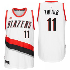 New Portland Trail Blazers #11 Evan Turner 2016 Home White Jerseys Swingman FNY3468