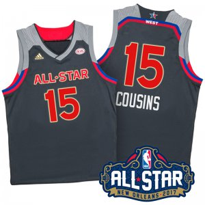 On the fabric 2017 Orleans All Star Western Conference Kings #15 DeMarcus Merchandise Cousins Charcoal HOX341