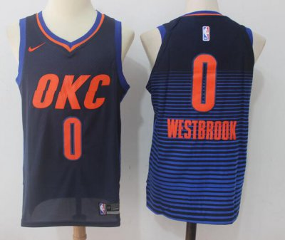 Online Cheap Men's Basketball Oklahoma City Thunder #0 Russell Westbrook Navy Blue 2017 Nike Swingman Stitched SKD3081