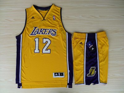 Online Sale 2018 Revolution 30 Shorts Los Angeles Lakers #12 Dwight Howard Swingman Yellow Home Rev Basketball Suits Merchandise ZVA4509