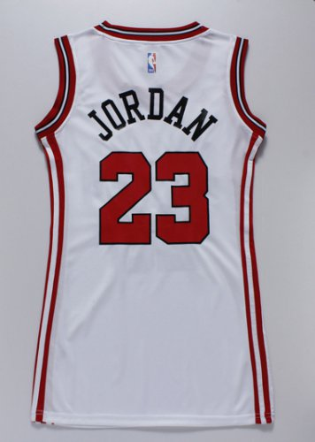 Quality assurance Women Chicago Bulls Gear 23 Michael Jordan white dress FJJ4266