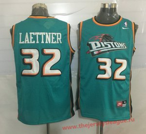 The Cheapest Detroit Pistons #32 Christian Laettner Teal Green Hardwood Classics Soul NBA Swingman Throwback WHA1394