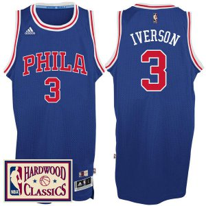 sport polyester fabric Philadelphia 76ers #3 Allen Iverson 2016 17 Season Royal Jersey Hardwood Classics Throwback DTQ3240