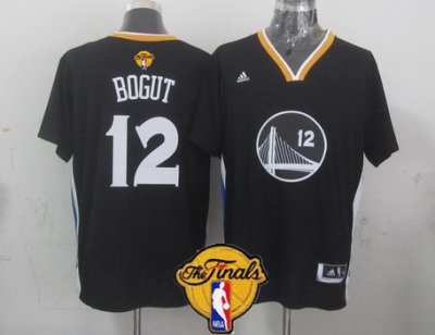 Authentic Golden State Warriors Jerseys #12 Andrew Bogut Black Short Sleeved 2016 The Finals Patch BZC10