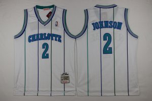 Authentic Mitchell And Ness Charlotte Hornets #2 Larry Johnson White Apparel Throwback Stitched XWT627