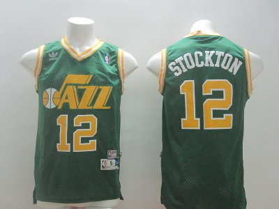 Beautiful STOCKTON Jerseys Utah Jazz #12 green GVL4143