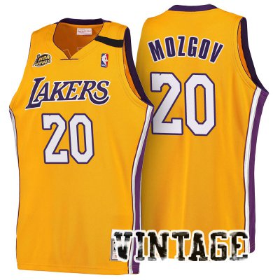 Best Los Angeles Lakers Jersey #20 Timofey Mozgov 2016 17 Season Gold Throwback Swingman HHT2348