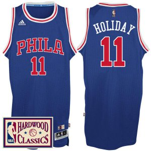 Best Philadelphia 76ers #11 NBA Jrue Holiday 2016 17 Season Royal Hardwood Classics Throwback RGH3235