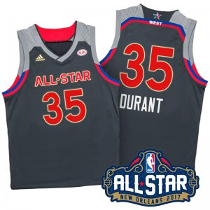 Cheap Hot Sale 2017 Orleans All Star Western Conference Warriors #35 Jerseys Kevin Durant Charcoal MCX348