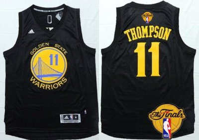Cheap Quality Golden State Warriors #11 Klay Merchandise Thompson Black With Gold 2016 The Finals Patch IOM3
