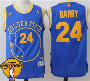 Cheap Warriors Jersey #24 Rick Barry Blue Throwback Golden State The Finals Patch Stitched QTJ1840