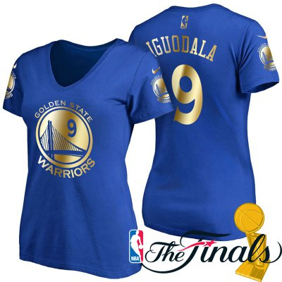 Exactly Fit Women's 2017 Finals Golden State Warriors #9 Andre Iguodala Royal Gilding Merchandise Name & Number T Shirt CXT4223