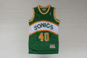 Fashionable Thunder #40 Shawn Kemp Gear Green SuperSonics Throwback Stitched XSS3828