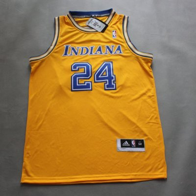 Hot 2017 Paul George #24 Indiana Pacers Jersey throwback yellow FXV2029