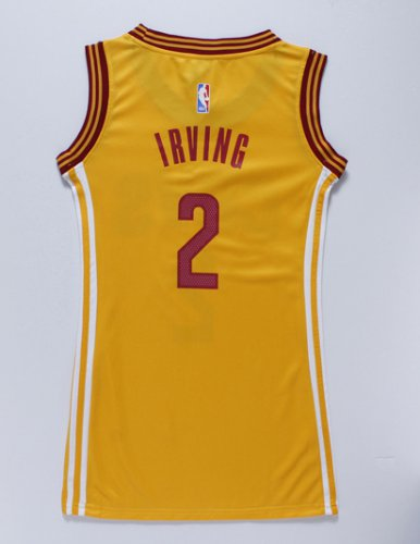 Hot Online Women Cleveland Cavaliers 2 IRVING yellow dress Jerseys JOX4280