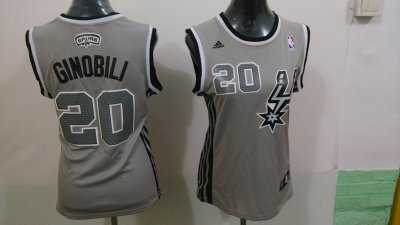 Latest style Women San Antonio Spurs Apparel 20 Manu Ginobili Revolution 30 Swingman Gray NGX4345