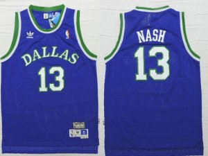 New Style Mavericks #13 Steve Jersey Nash Blue Stitched Throwback MWN1281