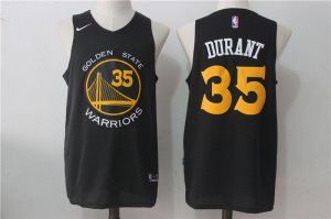 Online Cheap 2018 Golden State Warriors #35 Kevin Durant NBA Black With Yellow Stitched Nike Basketball TPG1523