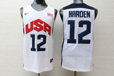 Real Basketball James Harden Men WhiteTeam USA #12 2012 Olympics Jersey PHP4025