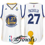 Temperament 2017 Finals Champions Apparel Patch Golden State Warriors #27 Zaza Pachulia White Swingman XAO1539