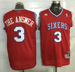 Temperament Jerseys 76ers #3 Allen Iverson Red Throwback 'The Answer' Stitched MVY3246