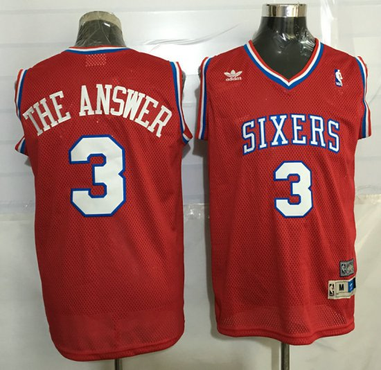 18f65b692 ... temperament jerseys 76ers 3 allen iverson red throwback the answer  stitched mvy3246 blue basketball