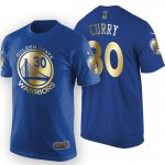 Best 2017 Finals Champions Golden State Warriors #30 Stephen Curry Merchandise Gold Royal T Shirt AEK1550