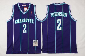 Cheap and good Mitchell And Ness Gear Charlotte Hornets #2 Larry Johnson Purple Throwback Stitched FIE626
