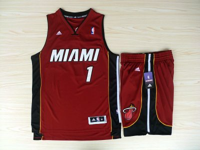 Chic Revolution 30 Shorts Miami Heat #1 Chris Bosh Swingman Basketball RedRev Basketball Suits FLF4514