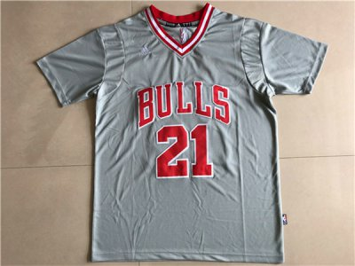 Discount Buy Mens Chicago Bulls #21 Jimmy Butler Jersey Gray Net Number T Shirt XCC670